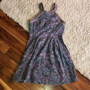 AEO 💯 Cotton Gray Floral Halter Dress sz. 6
